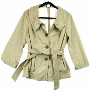 J Crew Cotton Khaki Trench Coat size 12